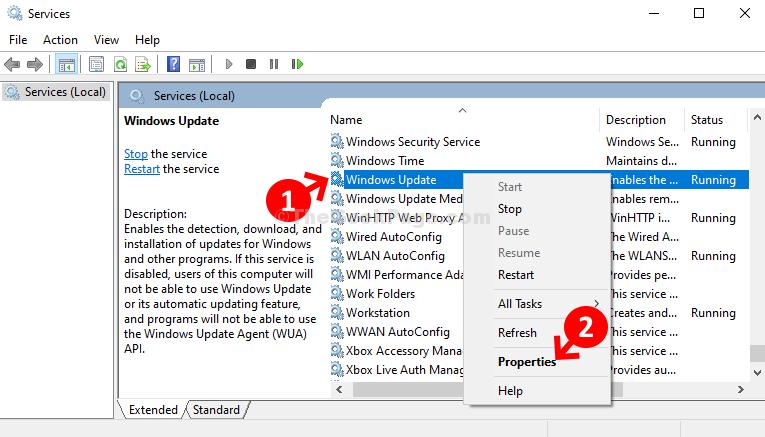 Nome servizi Windows Update Fare clic con il pulsante destro del mouse su Proprietà