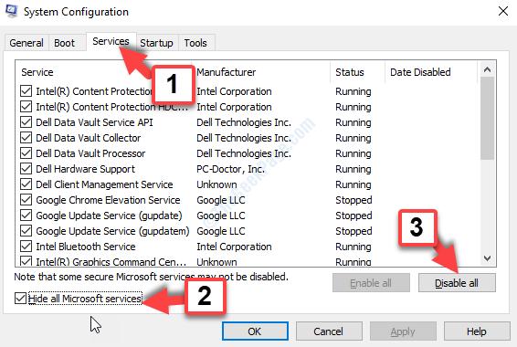 Scheda Servizi Msconfig Nascondi tutti i servizi Microsoft Seleziona tutto