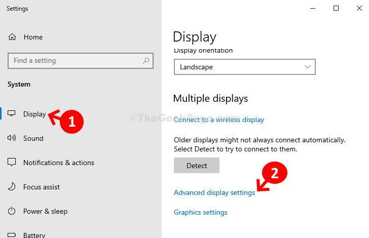 Impostazioni di visualizzazione avanzate del display di sistema