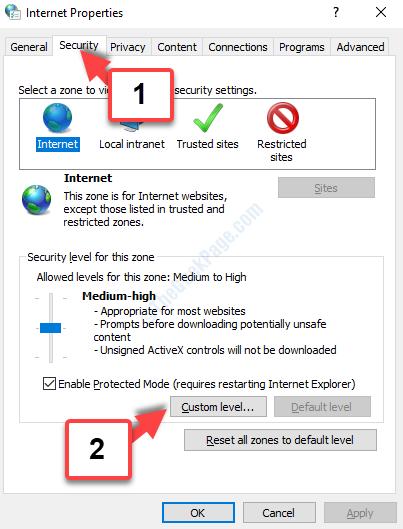 Livello personalizzato della scheda Protezione proprietà Internet