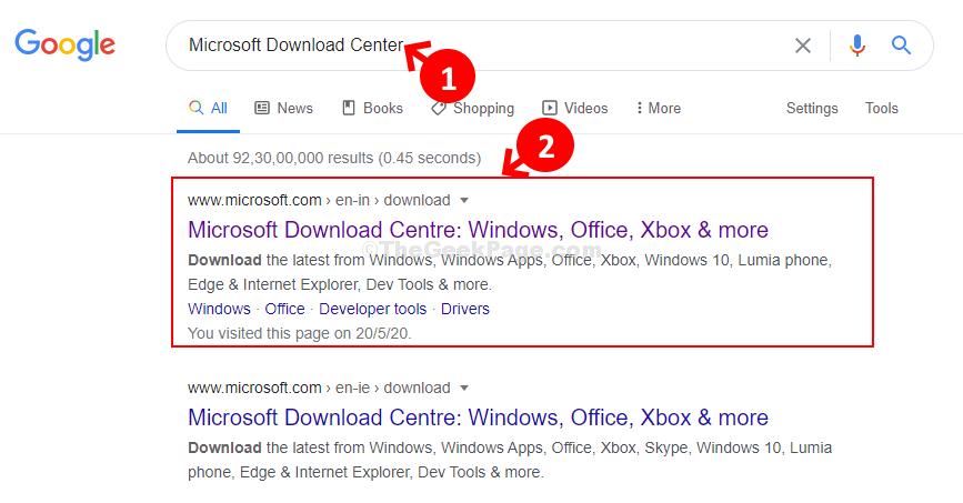 Ricerca di Google nel Centro download Microsoft per la prima volta