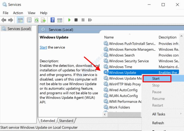 Avvio dell'aggiornamento di Windows