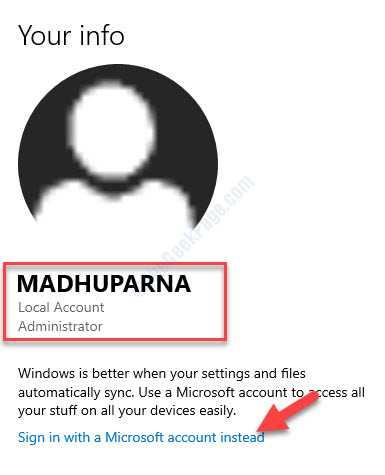 Impostazioni account Gestore account locale Accedi invece con un account Microsoft