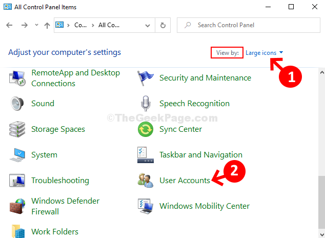 Visualizzazione del pannello di controllo tramite icone più grandi Account utente