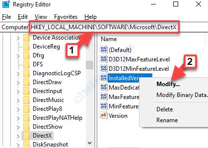 Editor del registro di sistema Accedere alla versione installata del percorso Directx Fare clic con il pulsante destro del mouse su Modifica