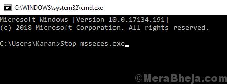 Interrompi il processo di Microsoft Security Essentials