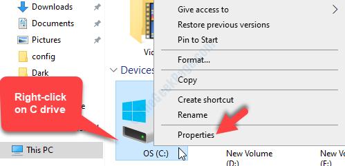 Fare clic con il pulsante destro del mouse su Proprietà di questa unità Pc C