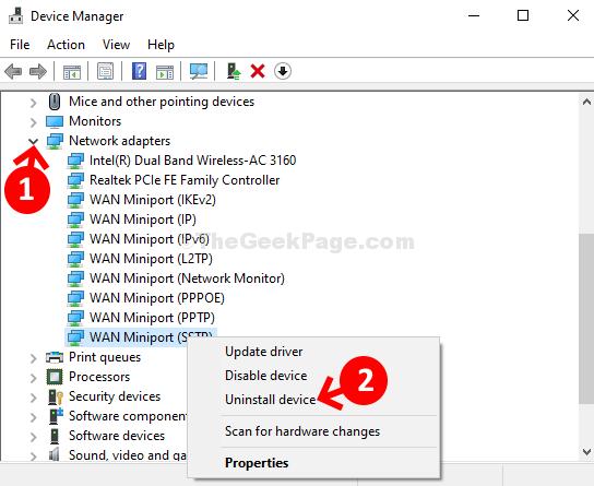 Schede di rete di Gestione dispositivi Espandere Miniport Wan (sstp) Fare clic con il pulsante destro del mouse su Disinstalla dispositivo