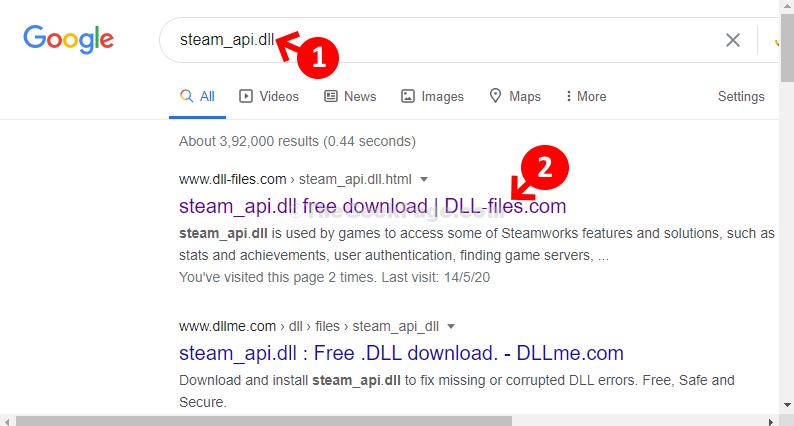 Ricerca DLL di Google Steam Api Fare clic sul primo risultato