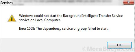 Windows non è riuscito a trovare il servizio in background
