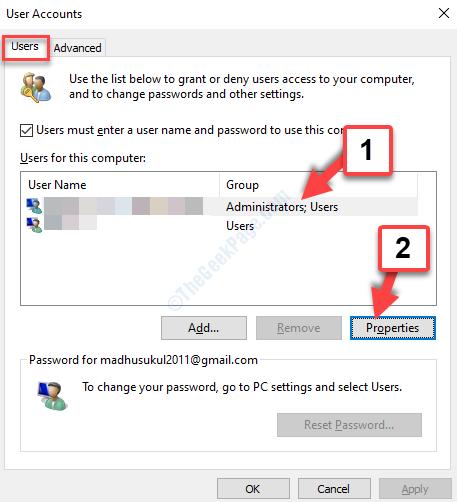 Account utente Utenti Utenti per questo computer Proprietà account Adminstratr