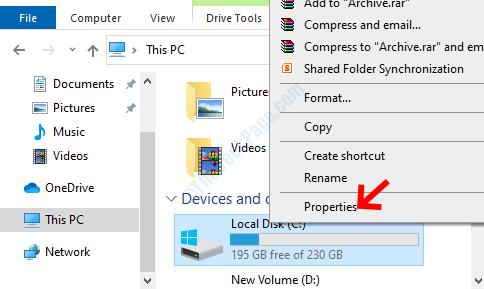 File Explorer Lato destro Unità C Fare clic con il pulsante destro del mouse su Proprietà