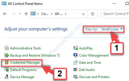 Visualizzazione dashboard da piccola icona credential manager