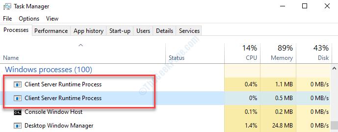 Task Manager elabora il processo di runtime del server client