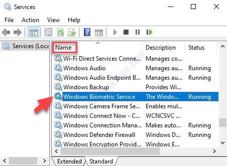 Servizi Nome Servizio biometrico di Windows