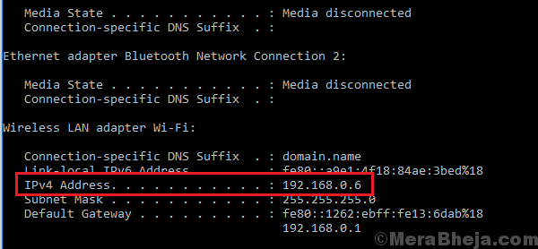 Controlla l'indirizzo IP