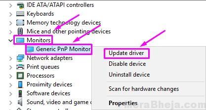 Aggiorna il driver del monitor Pnp generico
