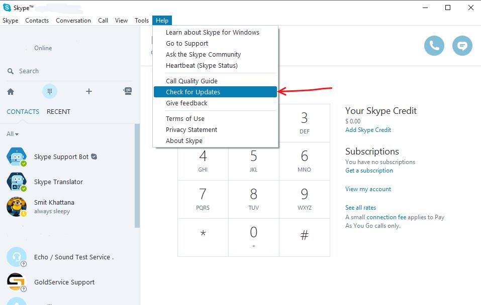 Aggiornamento di Skype