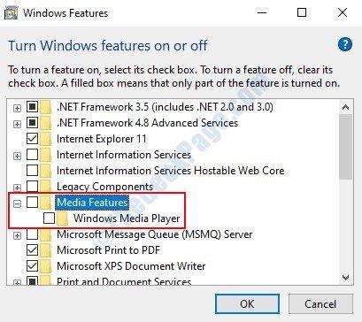 Funzionalità Windows Media