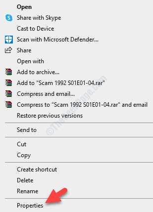 Fare clic con il pulsante destro del mouse su Proprietà file Problema