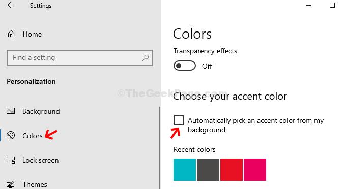 Colori di personalizzazione Deseleziona Scegli automaticamente un colore principale dal mio sfondo