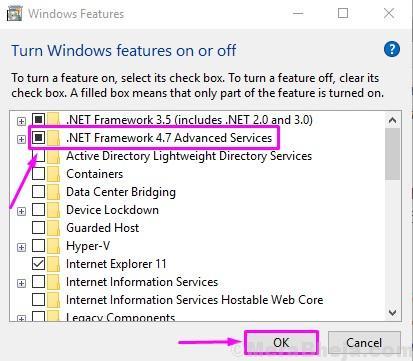 Deseleziona Net Framework 4.7