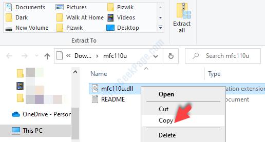 Apri la cartella Zip File Explorer File DLL Fare clic con il pulsante destro del mouse su Copia