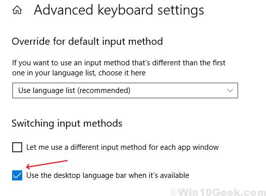 Usa la barra della lingua del desktop