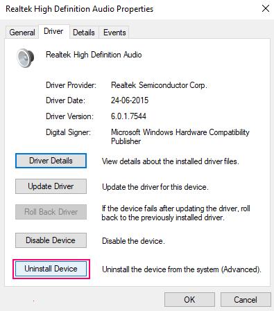 Disinstallare il driver audio