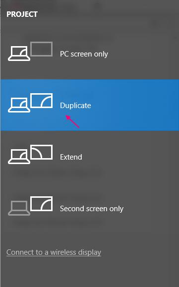 Mirroring dello schermo Windows 10