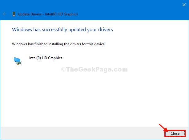 Chiudi l'aggiornamento del driver