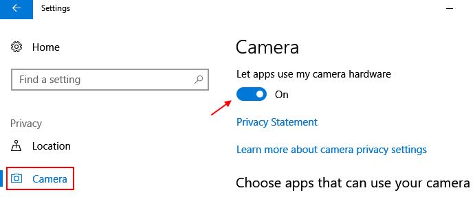 La fotocamera consente all'applicazione di utilizzare la fotocamera di Windows 10