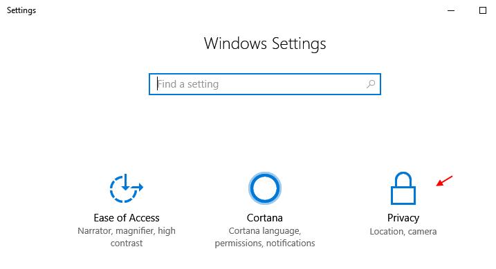 Privacy Impostazioni di Windows 10