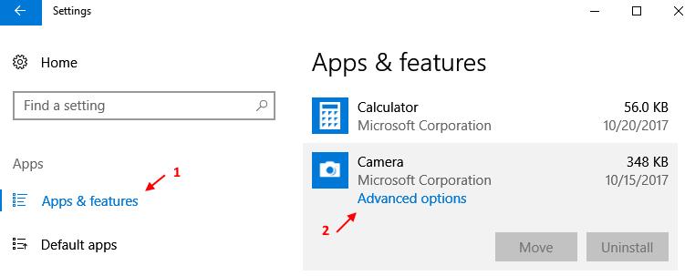 Applicazioni Funzionalità Impostazioni Opzioni avanzate della fotocamera di Windows 10