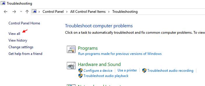 Vedi tutti gli strumenti di risoluzione dei problemi di Windows 10