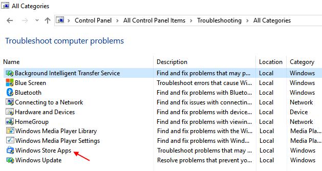 Risoluzione dei problemi delle app di Windows Store