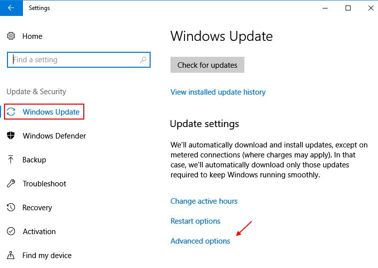 Impostazioni Aggiorna sicurezza Opzioni avanzate di Windows 10