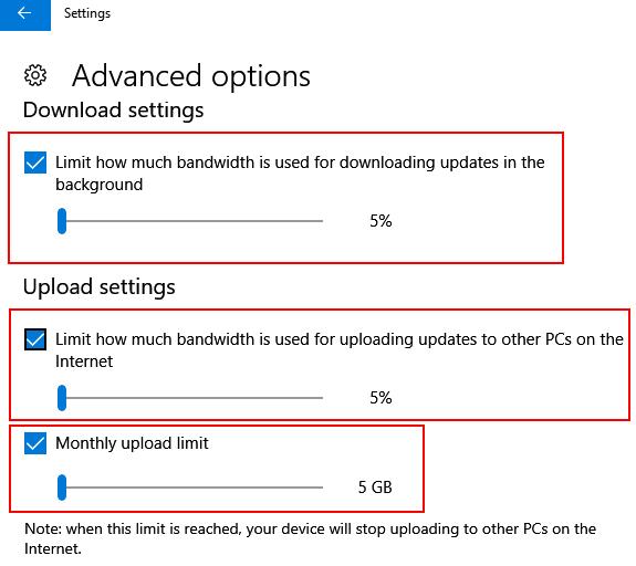 Limita la data di download della larghezza di banda Internet dell'aggiornamento di Windows 10