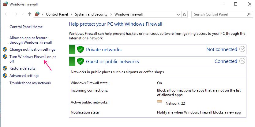 disabilitare il firewall