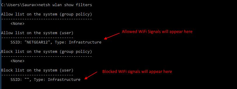 Blocca tutti gli altri segnali Wi-Fi Elenco Mostra comando filtro