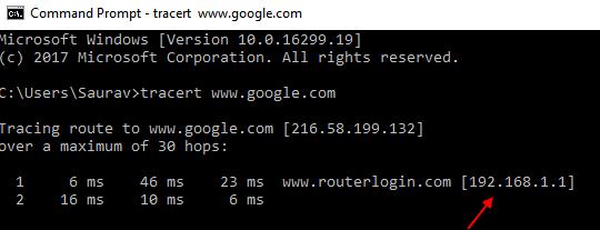 Indirizzo IP del router Tracert