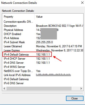 Dettagli Gateway Indirizzo del router Windows