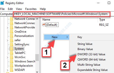 Barra degli indirizzi dell'editor del registro di sistema Incolla percorso Lato destro Fare clic con il pulsante destro del mouse Nuovo valore Dword (32 bit)
