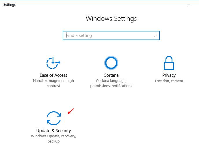 Impostazioni dell'aggiornamento della sicurezza di Windows 10