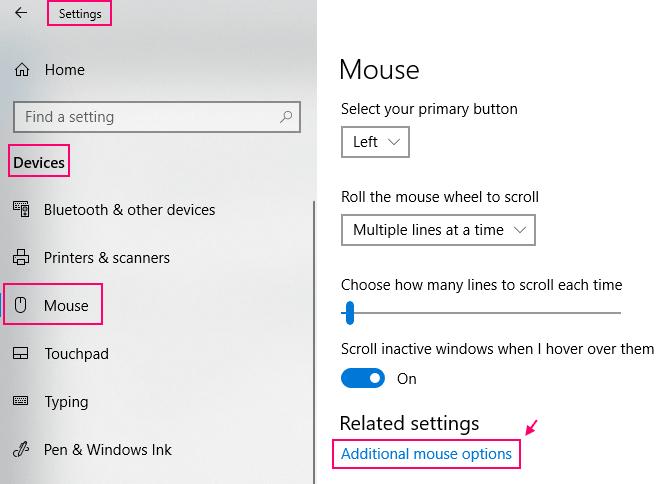 Opzioni aggiuntive del mouse Min.