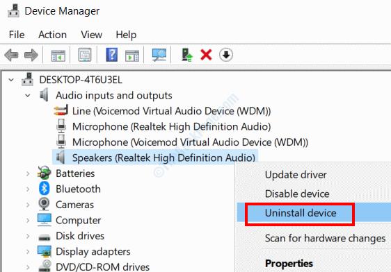 Disinstalla il driver audio