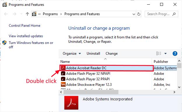 Disinstalla Adobe Reader