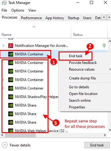 Uccidi i processi Nvidia.