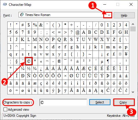 Mappa generale dei caratteri