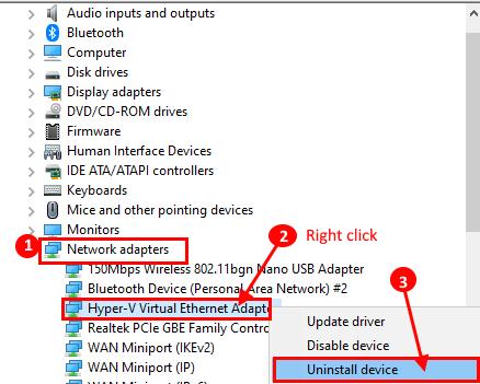 Disinstallazione di Ethernet